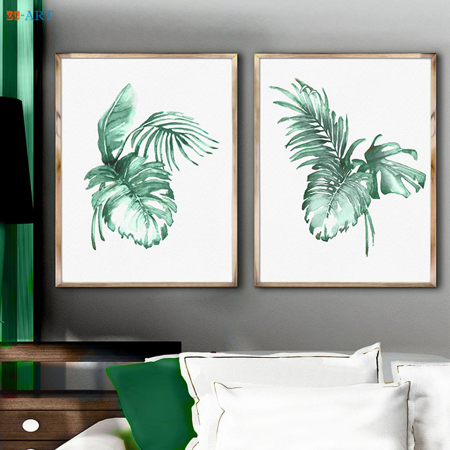 Framed Canvas Printed Watercolor Palm Leaves Art Banana Painting ...
