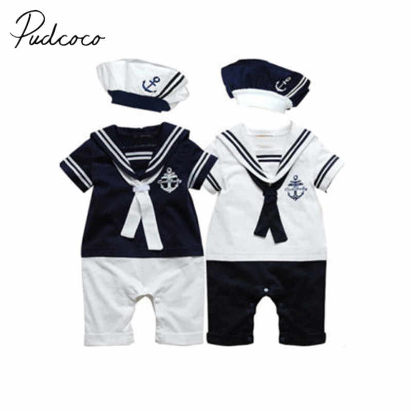 5082d25172d5 2018 Brand New Newborn Toddler Baby Boys Romper Infant Soilder Clothes  Captain Outfit Sunsuit Navy Style