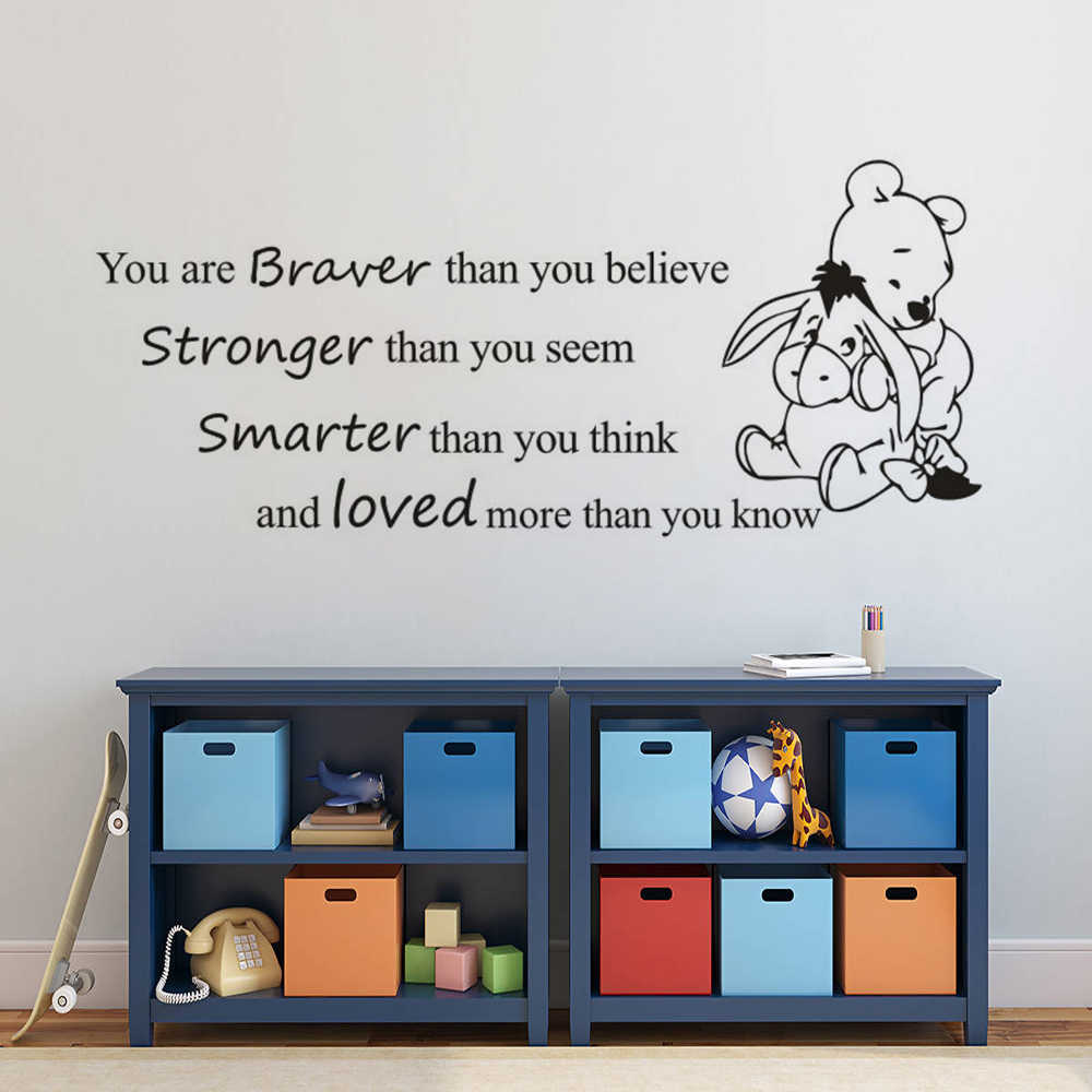 Winnie The Pooh Quote Wall Sticker Nursery Decoration Removeable Kids Room Quote Wall Decal Cartoon Character Vinyl Mural Ay1720