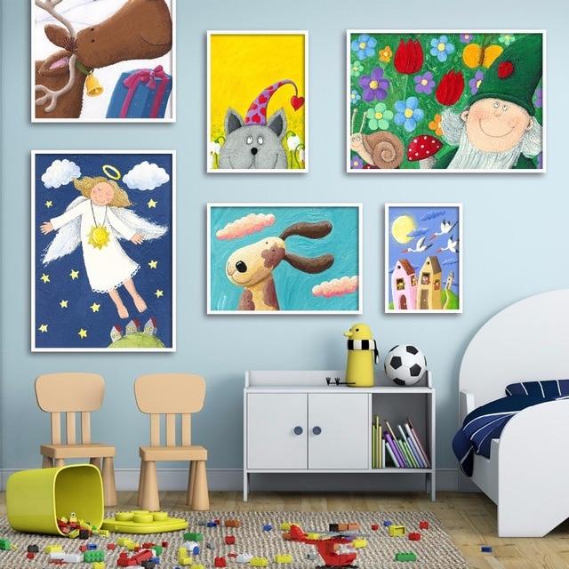 Kinderzimmer Bilder Leinwand   Cartoon Baby Glucklich Gesunde Fur Kinderzimmer Leinwand Kunstdruck