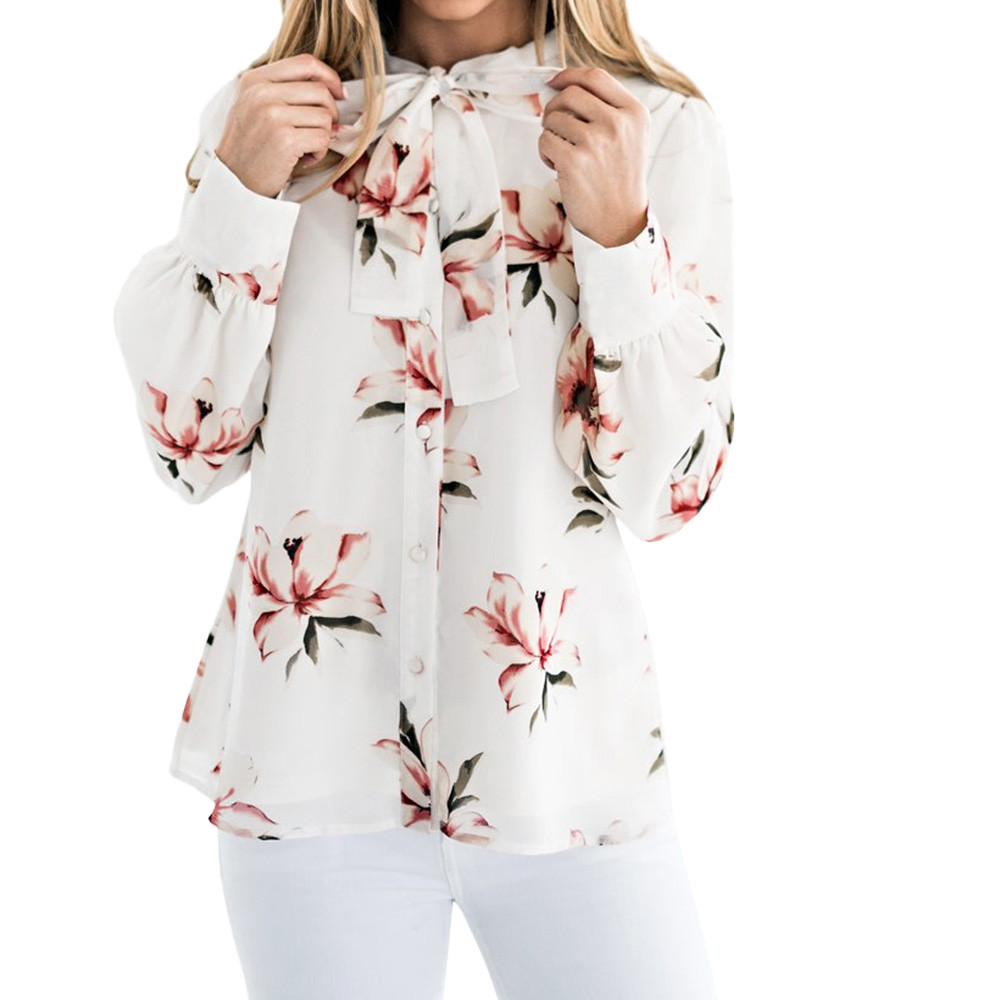 Womens Tops and Blouses 2018 Streetwear Floral Print Long Sleeve Blouse Tunic Clothes Woman Ladies Top Fashion Clothing