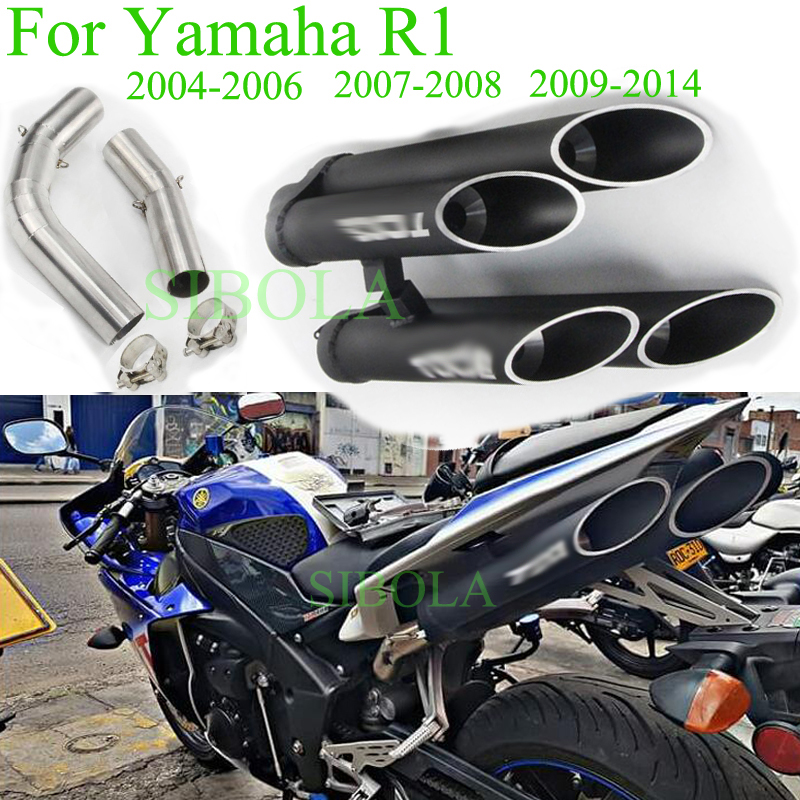 Yzfr1 Slipon Motorcycle Exhaust Muffler Full System For Yamaha R1 2004 2005: 2006 R1 Exhaust Systems At Woreks.co