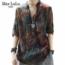 Max LuLu chemises femme en lin imprimé en mousseline de soie, col en V, mode coréenne, collection hauts et chemisiers, en coton
