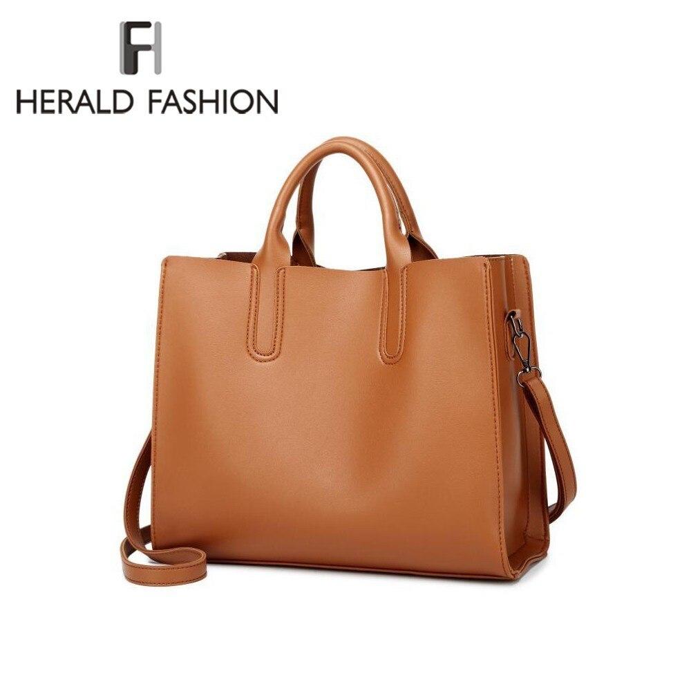 6e31f97ff0b1 Detail Feedback Questions about Herald Fashion Leather Handbags Big Women  Bag High Quality Casual Female Trunk Tote Spanish Brand Shoulder Bag Ladies  Bolsos ...