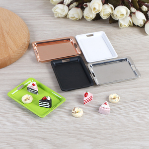 New 1/12 Dollhouse Mini Metal Plate Simulation Tray Model Toys for Doll House Decoration42mm*60mm Miniature Accessories(China)