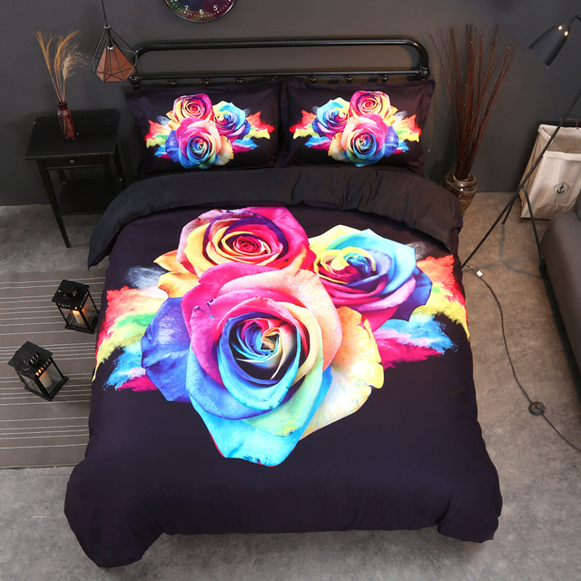 3D Bedding Set Twin Full Queen King UK Double AU Single Size Plant Duvet Cover Pillow Cases Colorful Flower Bedclothes