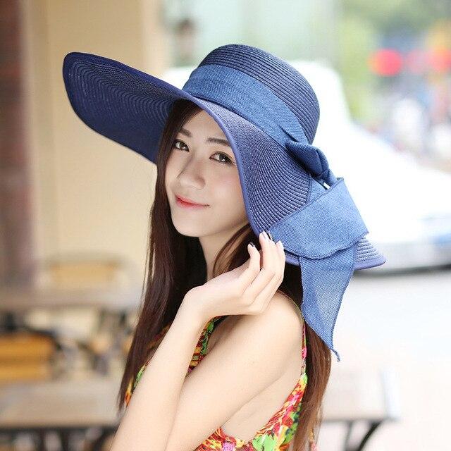 2016 Straw Hats For Women s Female Summer Ladies Wide Brim Beach Hats Sexy  Chapeau Large Floppy 753d025657c2