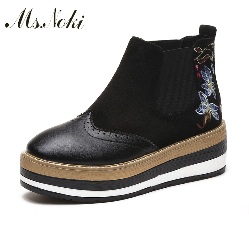 Ms Noki Embroider Women Ankle Boots Slip on boots High Heel Pointed Toe Supper Quality Woman Platform New Fashion wedge Shoes ms noki fur new fashion style black ankle boots flats pointed toe back slip on boots pu flock woman shoes with warm fur outside