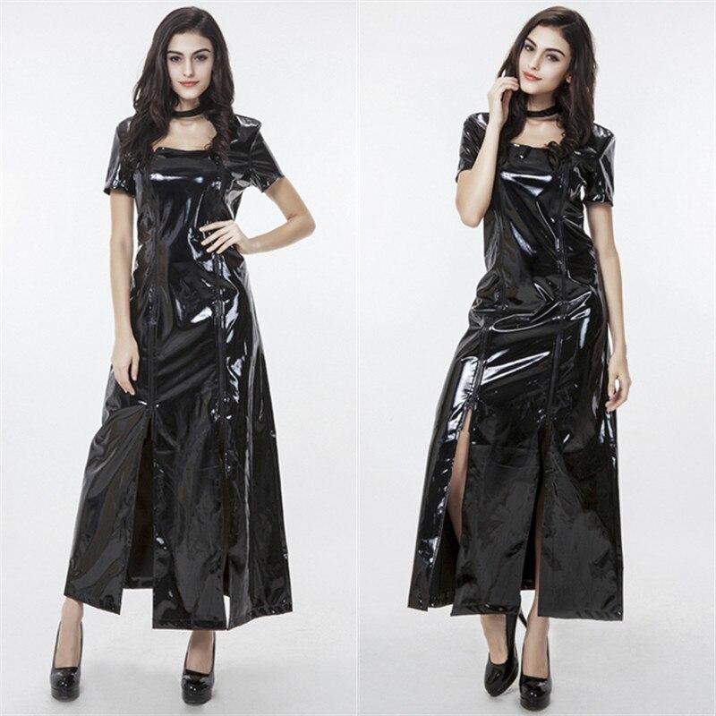 Costumes Wet Look Zipper Front Cat Suit Catsuit Women Bodysuit Zip up Clubwear Stripper