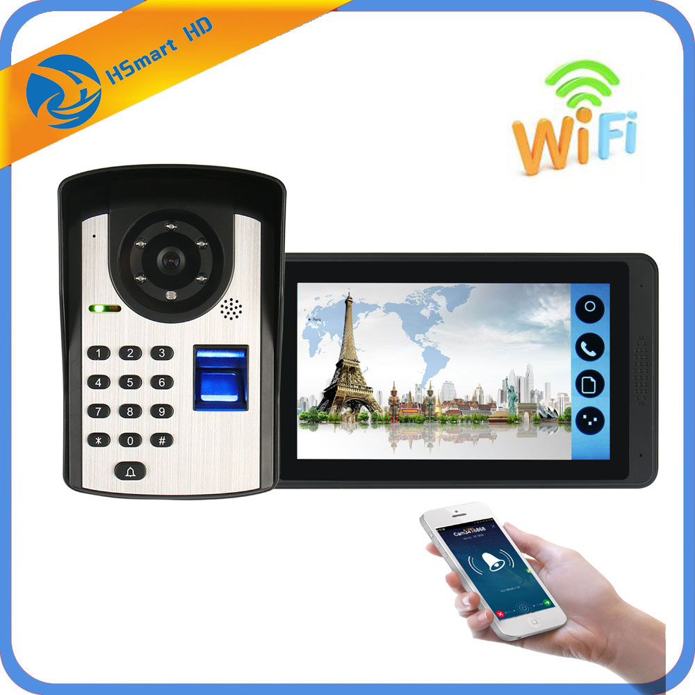 7inch Touch Screen Color WIFI Video Doorbell With Fingerprint HD Camera Support Remote Unlock