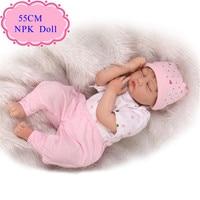 Yüksek kalite 55 cm 22 ''sleeping bebek kız bebek reborn baby dolls en iyi Fiyat Bebes Reborn Menina Için Sıcak Satmak Hediye Olarak Babys Oyuncak