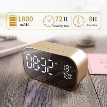 LED Relógio Despertador com Rádio FM Suporte sem fio Bluetooth Speaker TF Aux USB Leitor de Música Sem Fio para Escritório Quarto