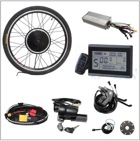 Kit Ebike 36 V 48 V 750 W roue motorisée arrière sans vitesse à 7 vitesses avec contrôleur LCD d'étranglement PAS pour vélo électrique