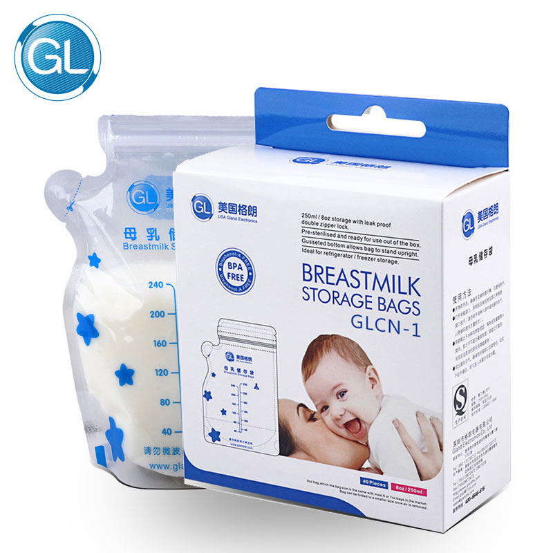 GL 40Pcs/Pack Breast Milk Storage Bag Milk Storage Freezer Bags Baby Feeding 250ML Big Capacity Baby Milk Food Storage BPA Free