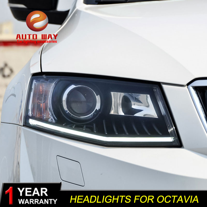 high quality Car styling case for Skoda Octavia 2015 Headlights LED Headlight DRL Lens Double Beam HID Xenon