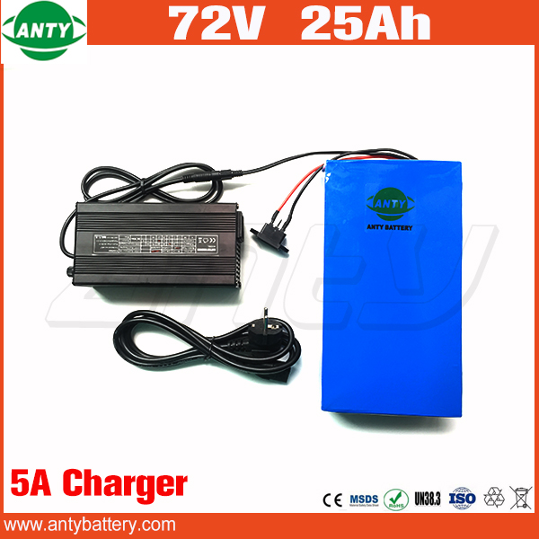 High Quality E Bike Battery 72v 25Ah 1500w Scooter Lithium Battery 72v with 84v 5A Charger Built in 30A BMS Free Shipping t by alexander wang короткий комбинезон