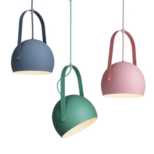 Macaron modern pendant lights colorful metal lamp body post kids room children study foyer decoration hanging light