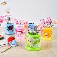 8pcs/box Creative Cartoon Animal Fruit Forks Set Cute Stainless Steel Kids Dessert Cake Bento Fork Cutlery Cubiertos