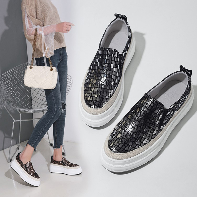 Loafers Platform Shoes 2019 Spring Genuine Leather Casual Shoes Slip On Sequin Bling Bling 4CM Gold