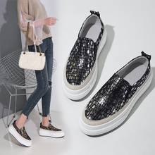 Loafers Platform Shoes 2019 Spring Genuine Leather Casual Slip On Sequin Bling 4CM Gold Silver