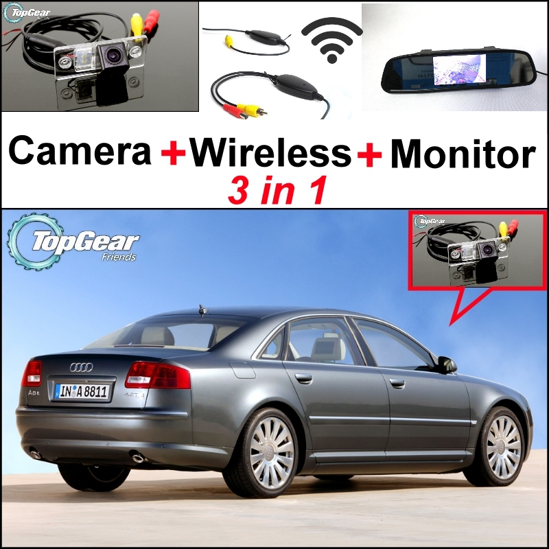 3 in1 Special Rear View Wifi Camera + Wireless Receiver + Mirror Monitor Parking System For Audi A8 A8L S8 D3 4E 2002~2007 3 in1 special rear view camera wireless receiver mirror monitor easy diy backup parking system for jeep liberty 2002 2007