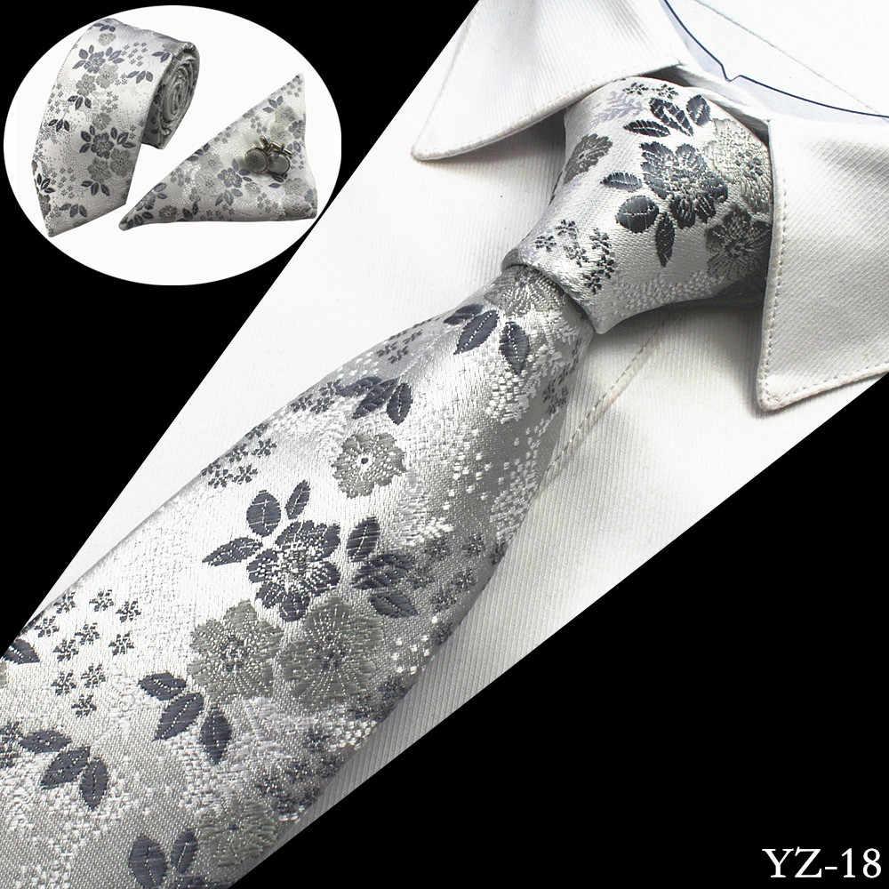 GUSLESON Cravatta Uomo Floreale 100% Seta Jacquard lavorato a Telaio Cravatta Gravata Corbatas Hanky Gemelli Cravatta Set per Gli Uomini Matrimonio Formale Del Partito