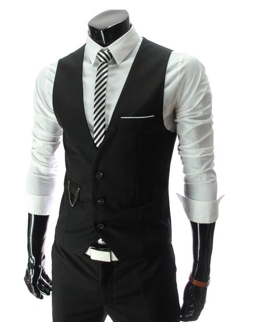 Men's solid color Slim vests male Formal dress