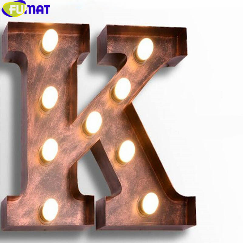 Fumat Metal Letter Lights Vintage K Wall Lamps Art Deco