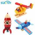 Blocos de madeira Magnetic Combined Criança Eduacational Brinquedo Avião/Foguete/Helicóptero 3 Tipo Para Escolher Blocos Presente Toy Vehicle