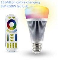 16ล้านสี8วัตต์สมาร์ทRGBW RGBWW MI. light CCTนำหลอดไฟ2.4กรัมไร้สายRFสัมผัสควบคุมระยะไกลDimmableโคมไฟE27 85-265โวลต