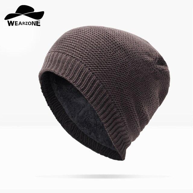 WEARZONE 2017 Brand Beanies Knit Winter Hats For Men Women Beanie Men s  Winter Hat Caps Bonnet Outdoor Ski Sports Warm Baggy Cap 5c608ae415fe