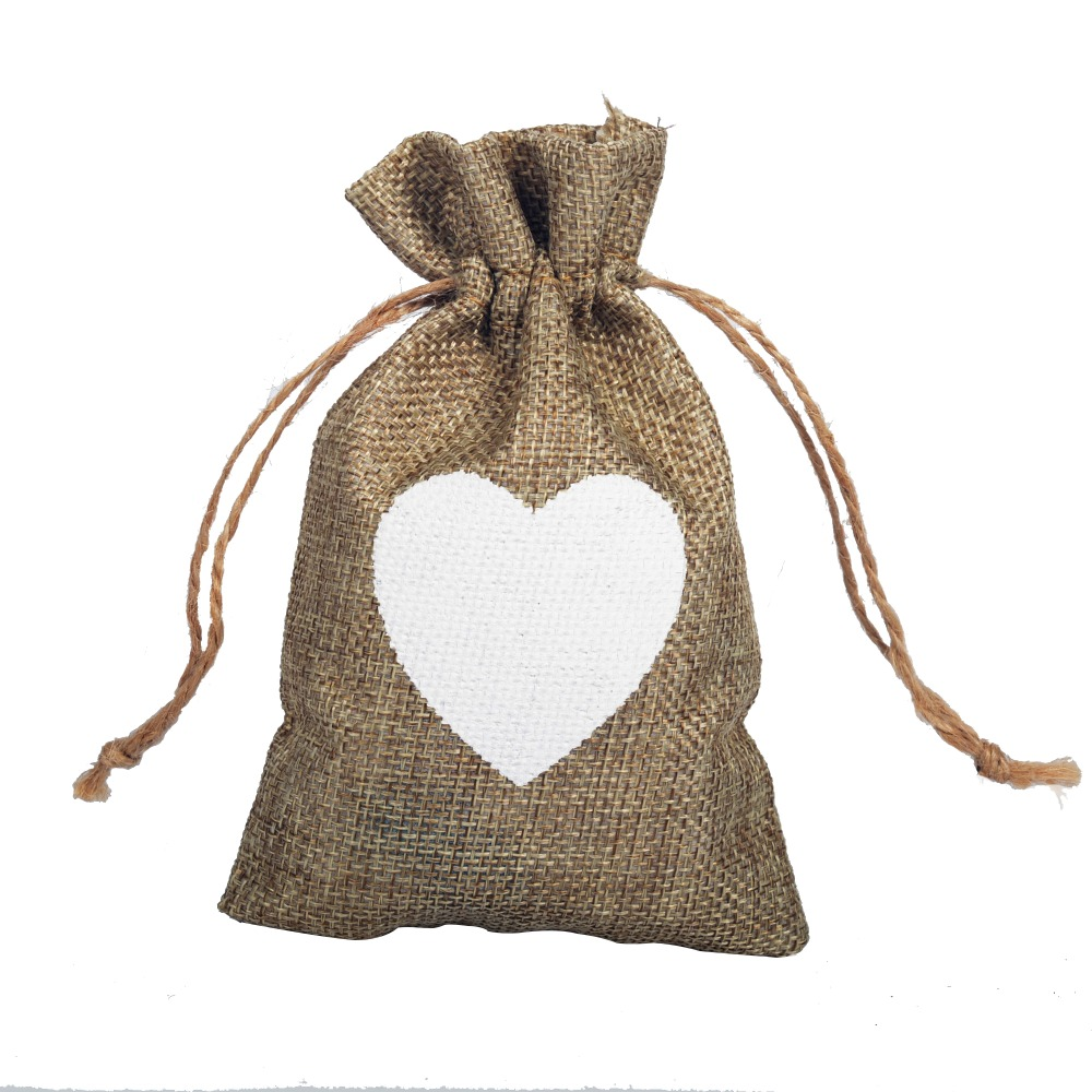 50 pcs Heart Sewing Burlap Jute Drawstring Wedding Favors Bag ...