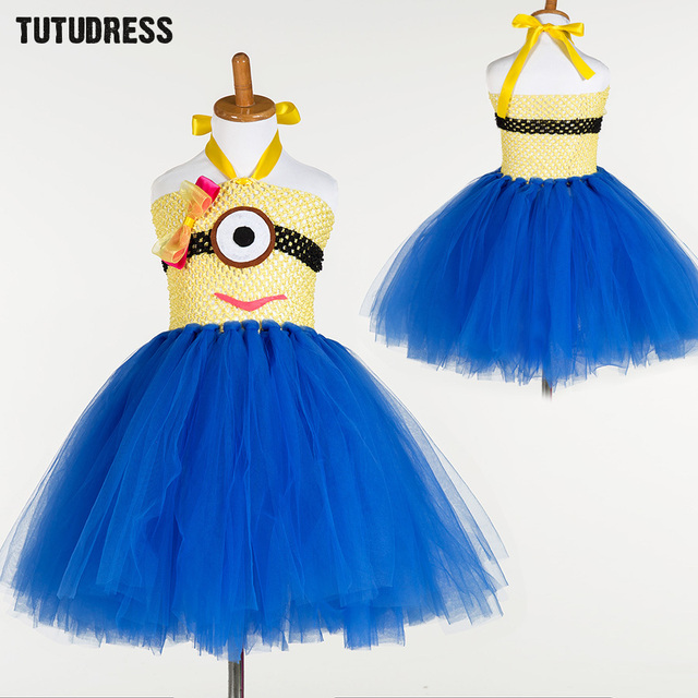 cute tulle girl party dress cartoon princess minion cosplay tutu dress christmas halloween costume for kids