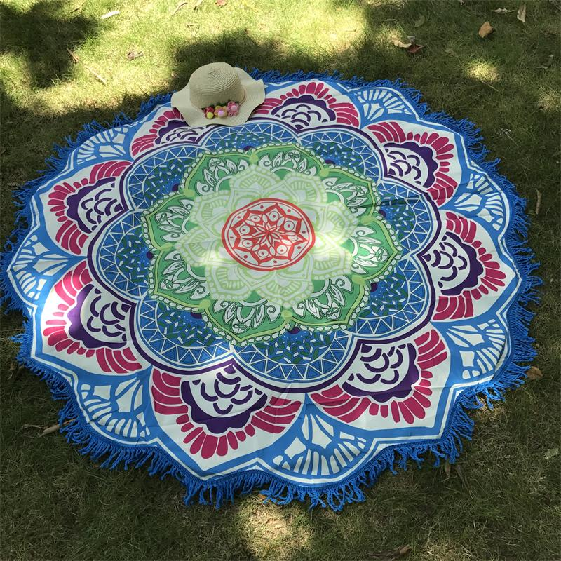 Women Chic Tassel Indian Mandala Tapestry Lotus Printed Bohemian Beach Mat Yoga Mat Sunblock Round Bikini Cover-Up Blanket 1