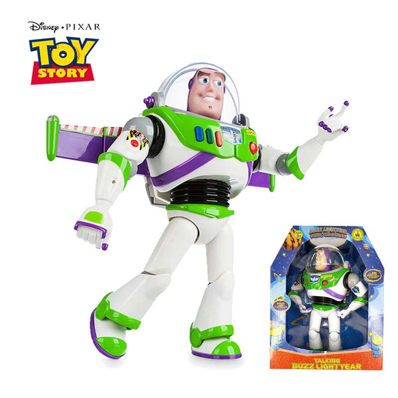 30cm Disney Pixar Toy Story 3 4 Buzz Lightyear Talking Lights Speak English Action Figures Model Doll Limited Collection Toys