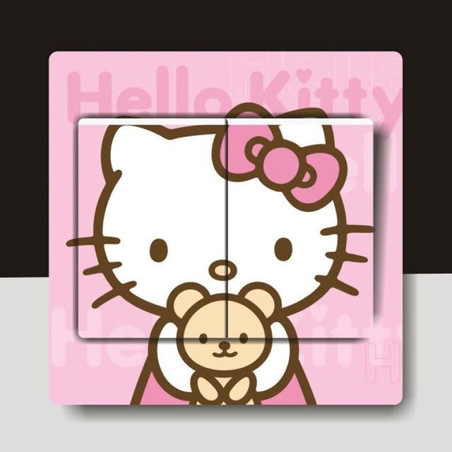 por kids wall lights lots. 3 Pcs/Lot Cute Hello Kitty Light Switch Stickers Fashion Wall For Kids Room Por Lights Lots S