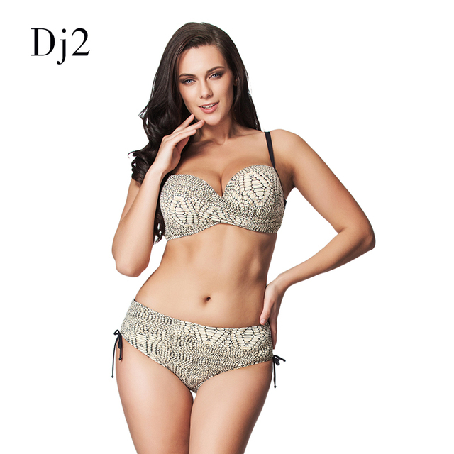 8bcf5c8d45e7e3 Snake Skin Print Bikini Set High Waist Swimsuit Women Plus Size Swimwear  Retro Bathing Suit Bandeau Strappy Bikini Plus Size 6xl