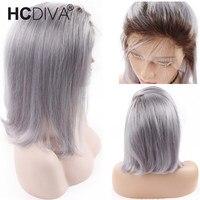 13*4 Ombre Синтетические волосы на кружеве человеческих волос парики для Для женщин 1B/серый бразильские Remy Ombre волос 130% прямой короткий боб пари