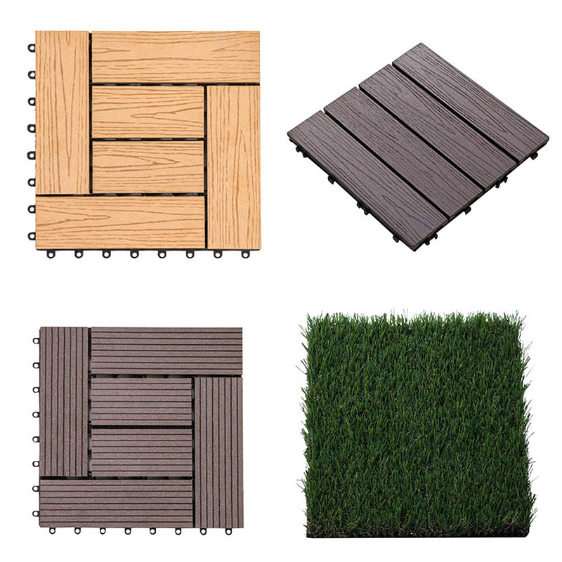 30*30cm Outdoor Anticorrosive Wood Flooring Garden Balcony Floor Waterproof Non-slip Floor Solid Wood Splicing Floor Tile image
