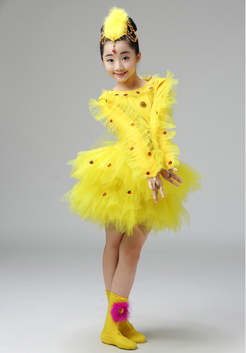 Праздничные сценические костюмы с героями мультфильмов; Детская летняя одежда с короткими рукавами и изображением животных; Карнавальный костюм для девочек; костюм цыпленка для выступлений;#71211 - Цвет: Цвет: желтый