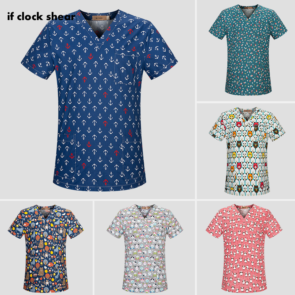 High Quality Medical Surgical Uniforms Hospital Nurse Scrub Tops Breathable Cartoon Beauty Salon Dentistry Pet Doctor Uniforms