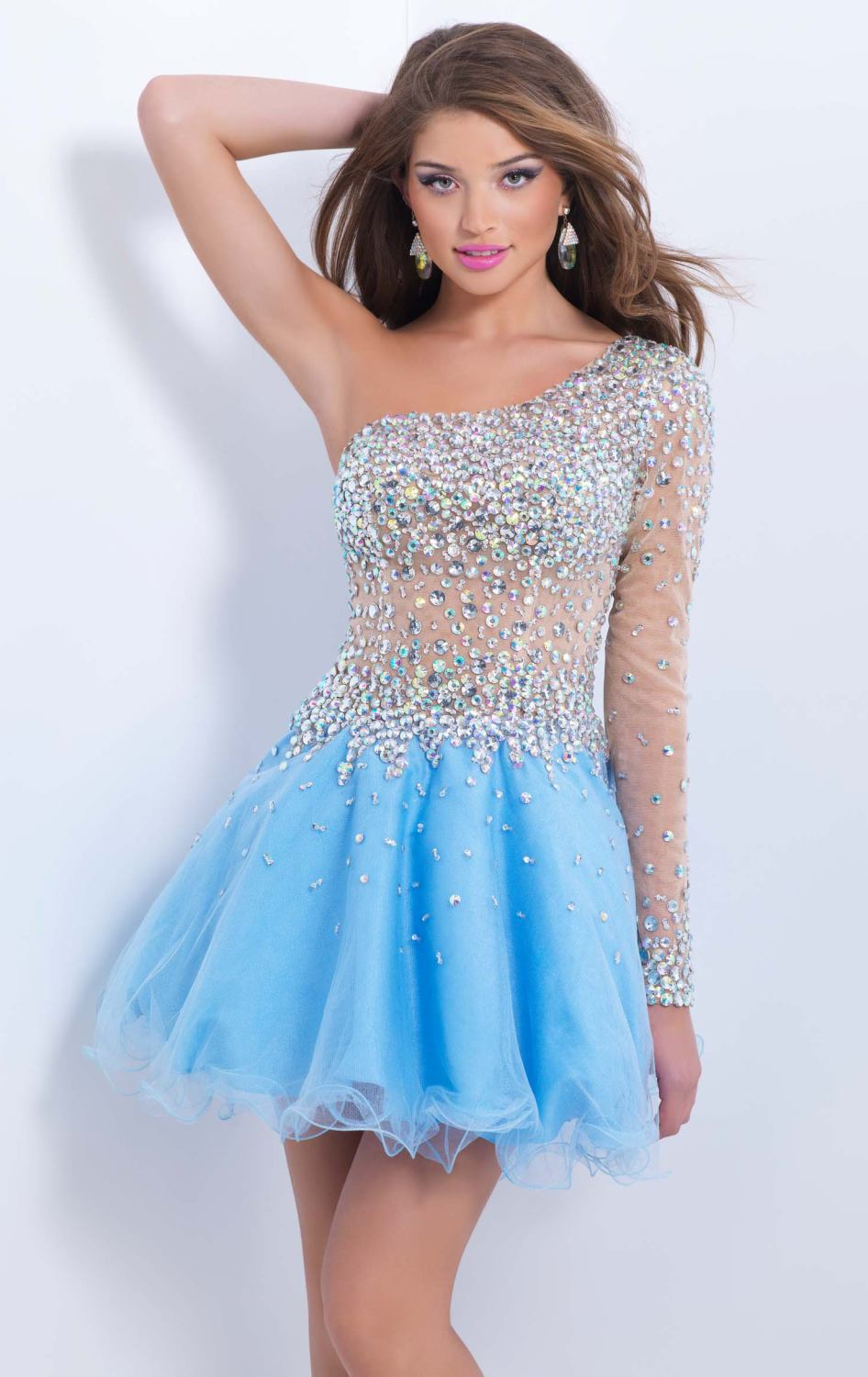 8256da89f77 New 2015 Short Homecoming Dress Knee Length Light Blue One Shoulder  Crystals Nude Long Sleeves A Line Graduation Party Dress L39