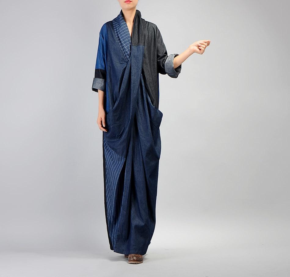 Nueva cuello longitud Las V Deep De Personalidad 2018 Moda Otoño Vestidos Rayado Mujeres Vintage Piso Empalmado Azul Vestido Lápiz Denim gSqAgw