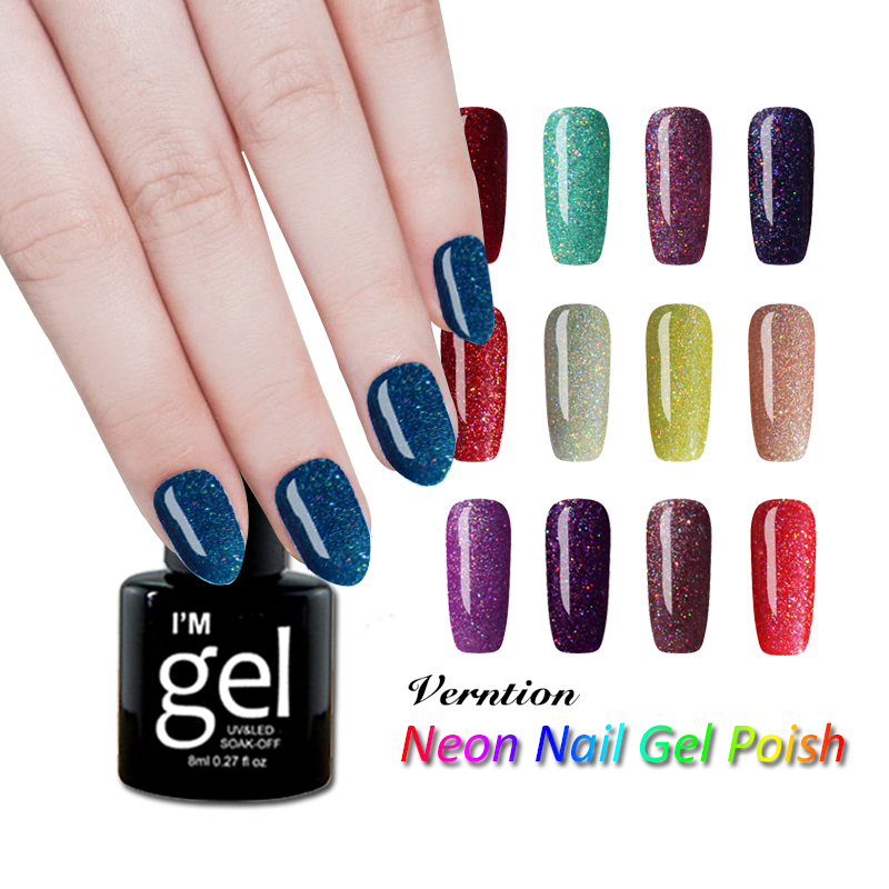 Verntion Glitter Neon Gel Nail Polish Varnish Design Uv Color Set Soak Off Long Lasting Bling Led Lamp Glue In From Beauty