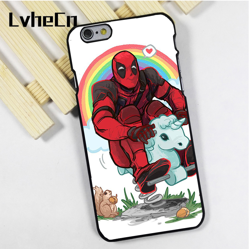 LvheCn phone case cover fit for iPhone 4 4s 5 5s 5c SE 6 6s 7 8 plus X ipod touch 4 5 6 Deadpool Funny Unicorn Marvel Joke