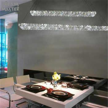 2 Rectangle LED lustres chandeliers K9 crystal stainless steel leds chandelier 3 sides crystal led kitchen room lighting