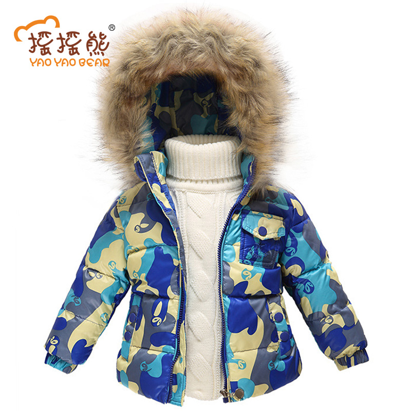 Girls Jackets & Coats New 2016 Arrivals Fashion Fur Hooded Thick Warm Parka Down Kids Clothes Cotton Children's Outwear Clothing new winter baby girls clothes white duck down parka warm goose down jackets for kid warm long coats big fur hooded for children