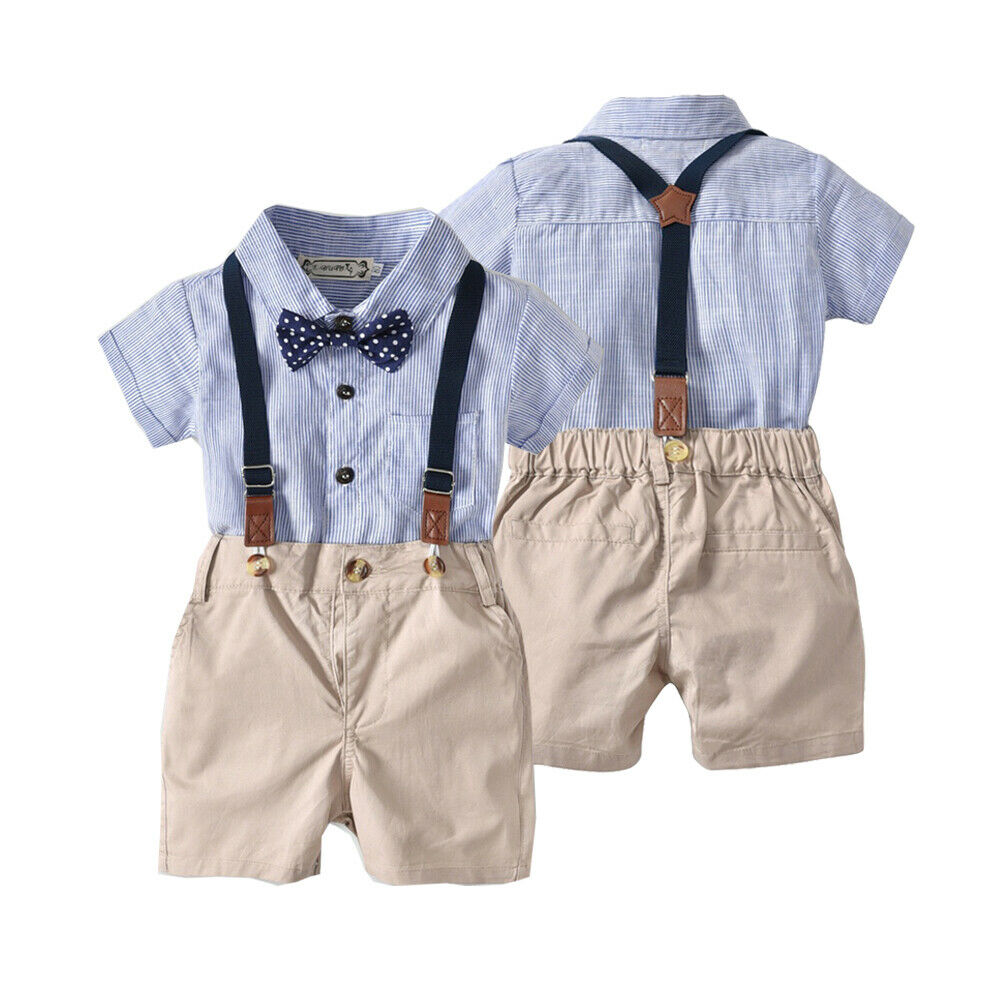 Pudcoco Newborn Baby Boy Gentleman Clothes Striped Shirt Romper Tops Strap Short Pants 2Pcs Outfits Formal Party Clothes