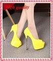 Mujer zapatos de fiesta sexy punta abierta tacones altos bombas mujeres los tacones altos bombas rojas zapatos de boda blanco mujer desnuda amarillo Y579