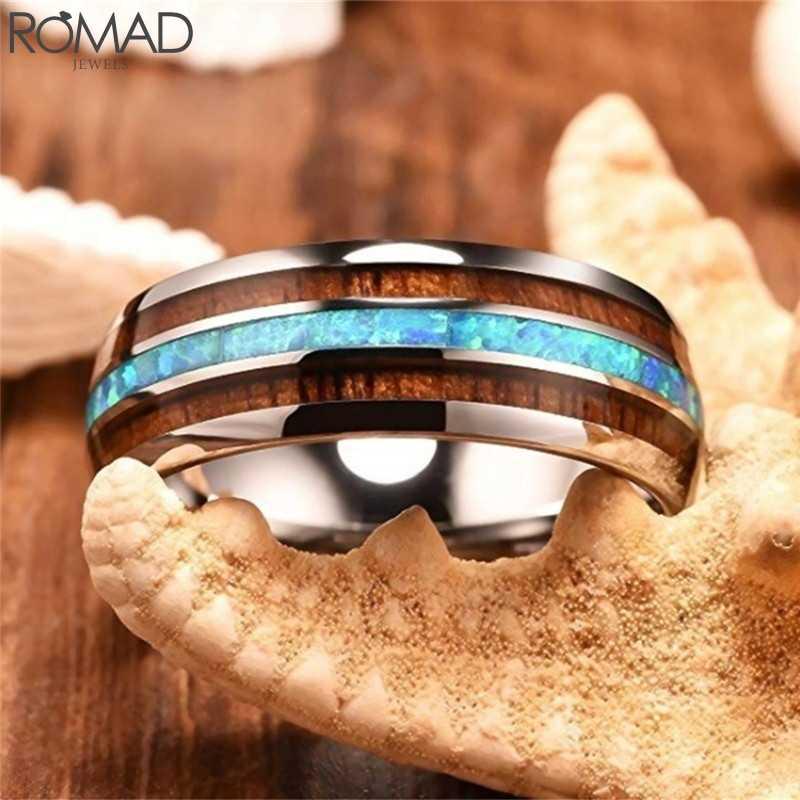 Romad aço inoxidável anéis de casamento feminino masculino mármore padrão neutro anel noivado festa jóias tamanho 13 r3